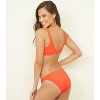 Coral Neon Textured Ribbed Bikini Top New Look