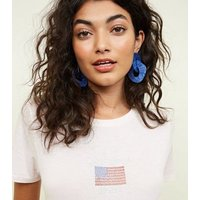 Pale Pink USA Flag Gem Logo T-Shirt New Look