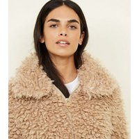 Tan Curly Faux Fur Bomber Jacket New Look