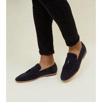 Men's Navy Tassel Suedette Loafers New Look