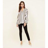 Off White Stripe Single Button Blouse New Look
