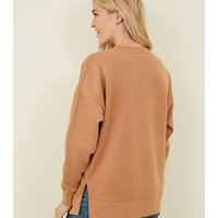 Maternity Camel Side Split Sweatshirt New Look