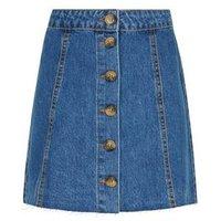Girls Blue Button Front Denim Skirt New Look