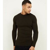 Mens Khaki Muscle Fit Ribbed Jumper New Look