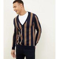 Men's Navy Vertical Stripe Cardigan New Look