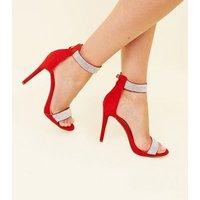 Red Suedette Diamanté Strap Stiletto Sandals New Look