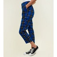 Blue Tartan Check Slim Leg Trousers New Look