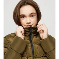 Girls Khaki Puffer Jacket New Look