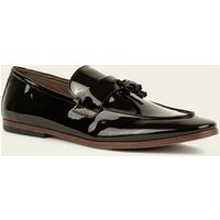 Black Tassel Trim Patent Loafers New Look