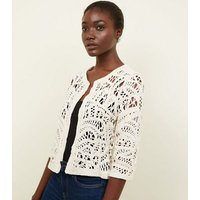 Off White Crochet Cover Up New Look
