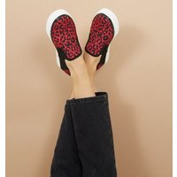 Red Leopard Print Slip On Canvas Trainers New Look