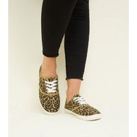 Stone Canvas Leopard Print Lace Up Trainers New Look