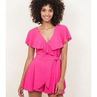 Bright Pink Frill Wrap Front Party Playsuit New Look