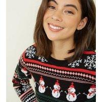 Black Fair Isle Knit Snowman Christmas Jumper New Look