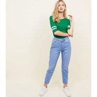 Dark Green Ribbed Stripe Sleeve T-Shirt New Look