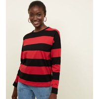 Red Stripe Slouchy Rugby Top New Look