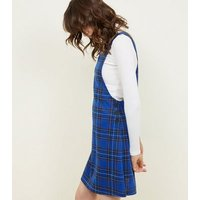 Blue Check Jersey Button Pinafore Dress New Look