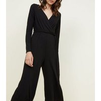 Black Ribbed Long Sleeve Wrap Jumpsuit New Look