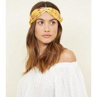 Yellow Floral SAtinTwist Headband New Look