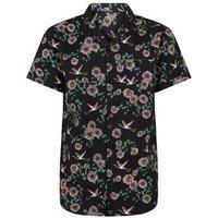 Black Floral Bird Print Short Sleeve Shirt New Look