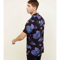 Black Neon Tropical Short Sleeve Shirt New Look