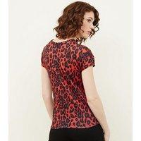 Red Leopard Print Twist Front Top New Look