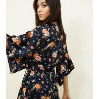 Mela Blue Floral Kimono Sleeve Jumpsuit New Look