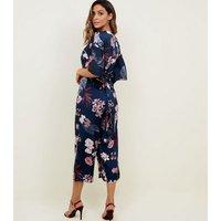 Mela Blue Floral Kimono Sleeve Satin Jumpsuit New Look