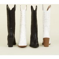 Black Limited Edition Knee High Western Boots New Look