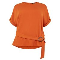 Curves Orange Ring Buckle Side Tunic Top New Look