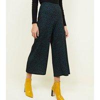 Green Leopard Print Culottes New Look