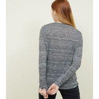 Grey Metallic Space Dye Twist Front Top New Look