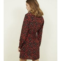 Orange Leopard Print Double Breasted Shirt Dress New Look