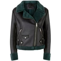 Green Faux Shearling Aviator Jacket New Look