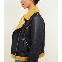 Mustard Faux Shearling Aviator Jacket New Look