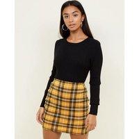 Petite Yellow Check Tube Skirt New Look
