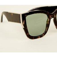 Dark Brown Faux Tortoiseshell Rectangle Sunglasses New Look