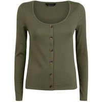 Khaki Ribbed Button Front Long Sleeve Top New Look