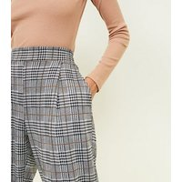 Black Check Jersey High Waist Tapered Trousers New Look