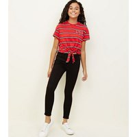 Girls Red Stripe USA Logo Tie Front T-Shirt New Look