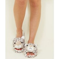 Stone Faux Fur Leopard Slider Slippers New Look
