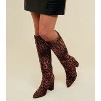 Stone Leopard Print Suedette Knee High Boots New Look