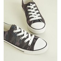 Khaki Camo Canvas Lace Up Trainers New Look