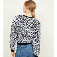 White Leopard Print Faux Fur Sweatshirt New Look