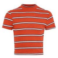 Girls Orange Stripe High Neck Fitted T-Shirt New Look