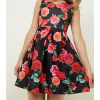 Mela Black Rose Print Pleated Skater Dress New Look