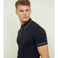 Navy Woven Trim Collar Polo Shirt New Look