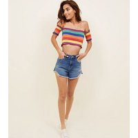 Cameo Rose Rainbow Stripe Shirred Crop Top New Look