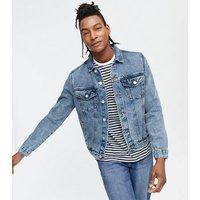 Blue Bleach Wash Denim Western Jacket New Look