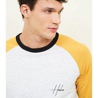 Mens Yellow Raglan Sleeve Harlem Slogan T-Shirt New Look